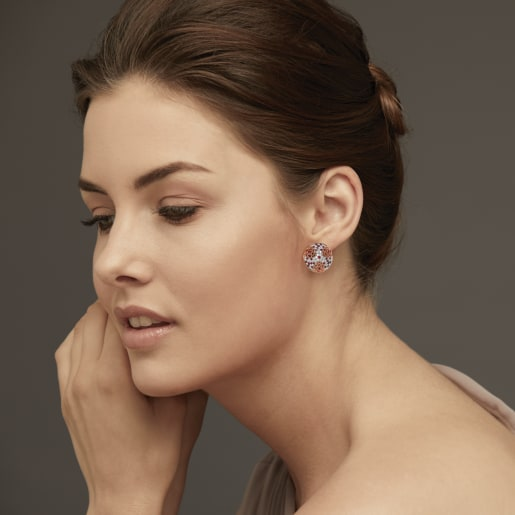 Diamond And Ruby Earring In Rose Gold (8.034 Gram) With Diamonds (0.856 Ct)