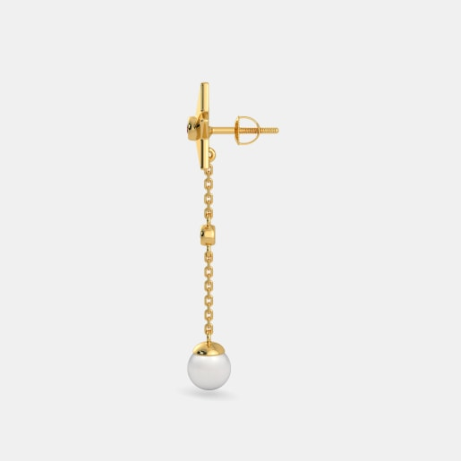 Diamond , White Pearl And Ruby Earring In Yellow Gold (3.05 Gram) With Diamonds (0.030 Ct)