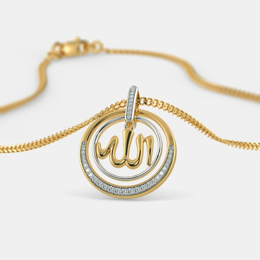 Buy gold allah pendant designs online in india 2018 bluestone the shumayl pendant aloadofball Images