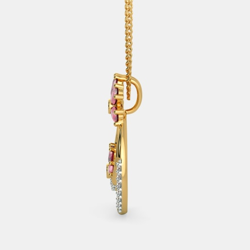 Diamond And Ruby Pendant In Yellow Gold (3.18 Gram)