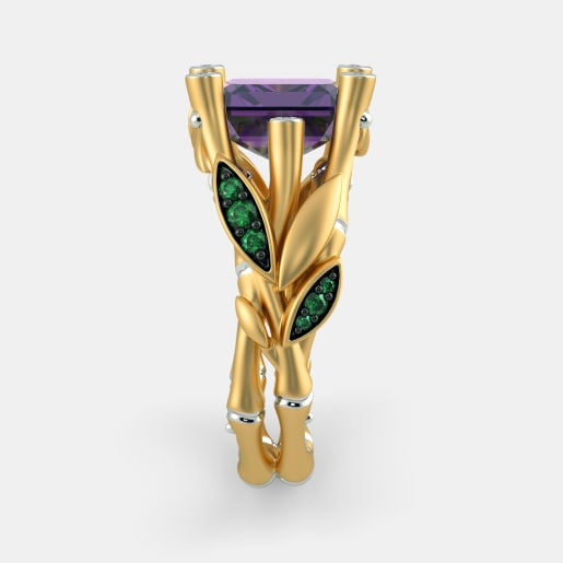 Diamond , Emerald And Amethyst Ring In Yellow Gold (10.51 Gram) With Diamonds (0.090 Ct)