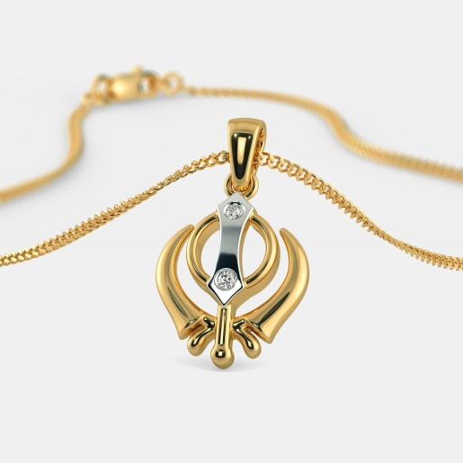 Buy gold khalsa pendant designs online in india 2018 bluestone the warrior pendant mozeypictures Images