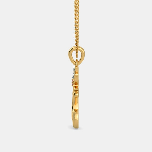 Diamond And Ruby Pendant In Yellow Gold (1.25 Gram) With Diamonds (0.025 Ct)
