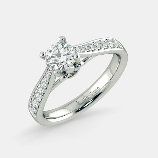 Diamond PreSet Solitaire Ring In White Gold (3.8 Gram) With Diamonds (0.198 Ct) And Solitaire (0.50 Ct)